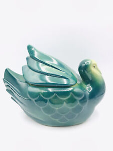 Vtg Fapco Pottery Green Bird Dove Turkey Cookie Jar Container Green USA 9""