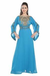 2020 Moroccan Modern Kaftan Farasha Long Sleeve Georgette Zari Work Style Dress