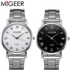 MIGEER Fashion Men Womens Luxury Stainless Steel Analog Quartz Round Wrist Watch