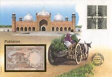 superbe enveloppe PAKISTAN billet de banque timbres