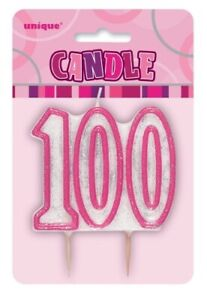 GLITZ PINK NUMBER CANDLE 100 BIRTHDAY PARTY SUPPLIES