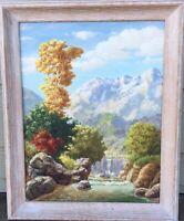 Vtg Framed Original Oil Painting, Waterfall Landscape, Signed - Bobbie Goodall