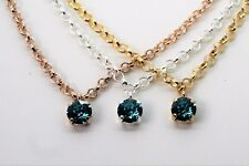 Necklace Pendant with 8mm Blue Zircon Swarovski Crystals Choose Your Finish