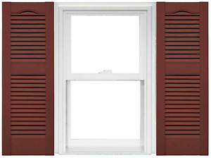 Mid America Open Louver Vinyl Shutters Burgundy Red 14.5-in x 36-in (1 Pair)