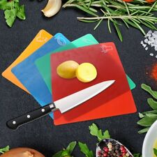 4PCS Plastic Non-slip Rectangle Chopping Block Cutting Board Flexible Mats SET