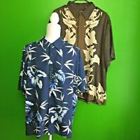 Cubavera Lot 2 Shirts Men's Sz XL button up Hawaiian floral rayon Short Sleeve