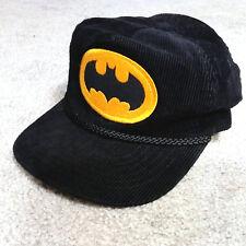 Batman Corduroy Hat DC Comics Black Cap Vintage Strapback