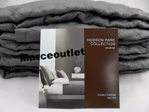 Hudson Park Double Diamond FULL / QUEEN Quilted Coverlet Charcoal Gray