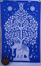 Indian Elephant Tree of Life Wall Hanging Dorm Bedspread Coverlet Twin Tapestry