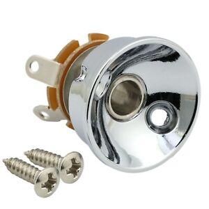 Brass Electrosocket Jack Plate for Telecaster Tele w/ Jack and Screws - CHROME