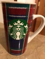Starbucks Coffee 2017 16oz Holiday Coffee Mug Cup Tall Plaid Christmas