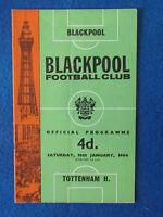 Blackpool v Tottenham Hotspur - 18/1/64 Programme
