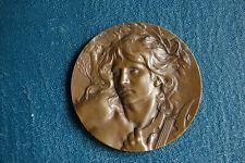 Médaille bronze de Lucien Coudray 1893 Orphée endort Cerbère au son de sa lyre
