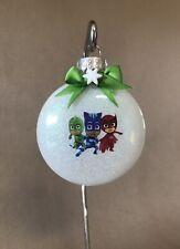 "Handmade ""PJ Masks"" 3"" Round Glass Disk Shaped Christmas Ornament~USA Made! NEW!"