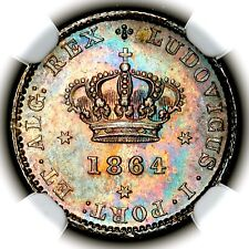 More details for top pop 1864 luiz luis i portugal silver fifty reis 50r km 506.1 ngc ms64