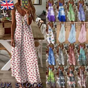 UK Women Summer Floral Long Dress Ladies Boho Beach Holiday Maxi Dress Size 6-26