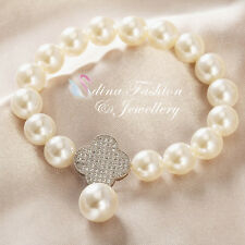 18K White Gold Plated Simulated Pearl & Diamond 4 Leaf Clover Stretch Bracelet