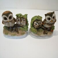 HOMCO Owl Family Figurines Mamma and Baby Owls Porcelain Ceramic #1298