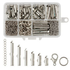 1 Box Iron Slide On End Clasp Ends with Twist Extender Chains Jump Rings Setting