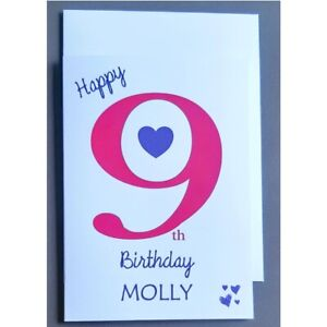 Personalised 9th Birthday Card Girl - 9 Years Old - Daughter Granddaughter Niece