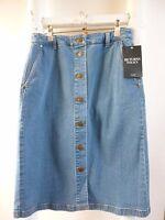 REDUCED BNWT  Pure Collection blue denim button through boho/hippy skirt  size 8