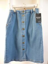 REDUCED BNWT  Pure Collection blue denim button through skirt  size 8