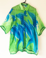Beach Collection Blue & Green Shirt Buttoned Top Graphic Print Sheer Sleeves