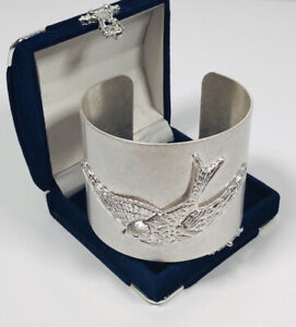 Vintage Cuff Wide Bangle Silver Tone Stainless Steel Swallow Swift Bird Costume