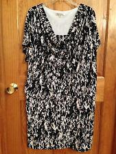 TravelSmith Black White Dress Wrinkle Resistant Travel Short Sleeve Size 16 Plus
