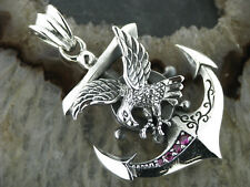 Old School Silber Kettenanhänger Anker mit Adler Anchor with eagle 925er Silber