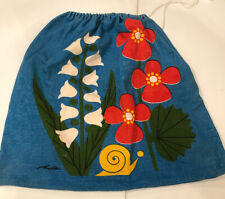 vtg Flower Power Travel Gym Bag Floral mod hippie 70s Canvas Cloth Drawstring