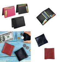 Men's Genuine Leather Thin Wallet Credit Card ID Holder Purse Mini Wallet Bag