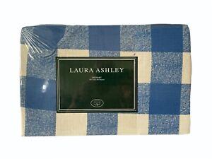 LAURA ASHLEY Summer Trellis Blue White Check Plaid Bedskirt Dust Ruffle Twin New