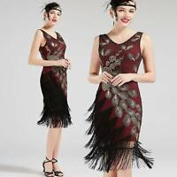 US STOCK Vintage 1920s Wine Unique Peacock Sequined Dress Gatsby Fringed Flapper