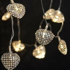 New - 16 White LED Silver Metal Lattice Hearts Fairy Lights Battery Operated