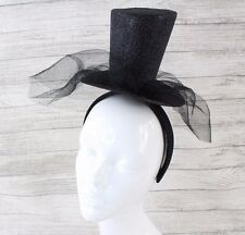 Sparkly Black Glitter Midi Top Hat Party Ball Hen Xmas Headband Hair Veil Mask