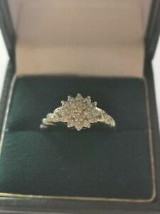 9 ct Gold Diamond Cluster Ring 0.25 Carat Size Q/R