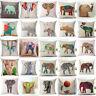 18 Inch Elephant Pillow Case Cotton Linen Square Sofa Cushion Cover Home Decor