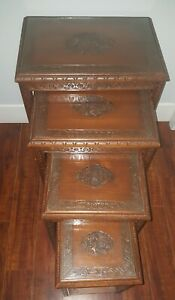 Antique Set of 4 Chinese Carved Wood FIGURAL SCENE Glass Top Nesting Tables