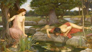 John Waterhouse Echo and Narcissus Poster Reproduction Giclee Canvas Print