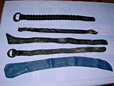 Set of 5 Women's Fashion Wide Genuine Leather Belts 4 Black & 1 Navy Sm-Med