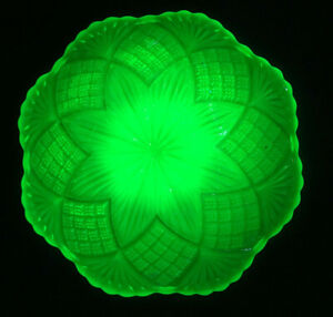 Antique French Plate Opalescent Yellow Uranium Vaseline Cut Crystal Glass