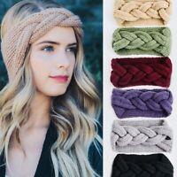 UK Women's Braided Knitted Ear Warmer Wrap Turban Headband Crochet Wool Hairband