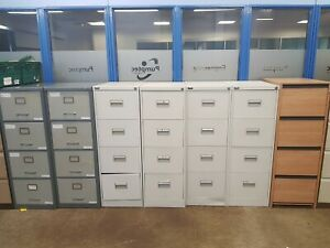 Four Draw Filing Cabinets  in various shades and colours NO KEYS