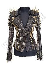 Woman&Mens Full Black Punk Monster Golden Long Spiked Studded Leather Jacket
