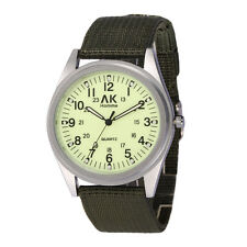 AK Military Army Green Canvas Nylon Strap Mens Analog Night Version Watch W220