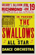 Doo Wop: The Swallows Gregory's Ballroom Concert Poster 1963