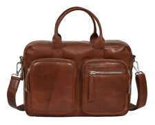 Pure Leather Briefcase Laptop Office Business Bag Multi Pockets Satchel COGNAC