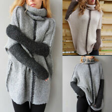 UK Womens Oversized Jumper Ladies Long Sleeve Cowl Neck Knitted Long Sweater Top