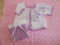 Handmade Crochet Baby Boy Sweater, Diaper Cover Booties Set  Newborn 6 Months